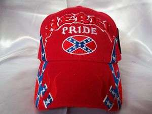 REBEL PRIDE BALL CAP HAT RED WITH REBEL FLAG DESIGNS