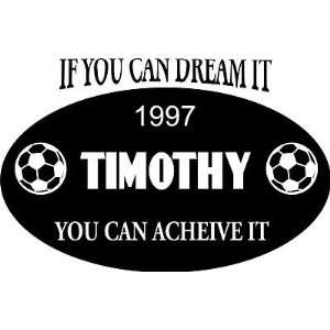 Personalized Name Dream Big Wall Decal Boys Room, Soccer Decal/Sticker
