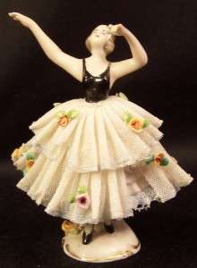 Frankenthal Dresden Germany Dancer in Black & White Lace 4 1/2 Tall