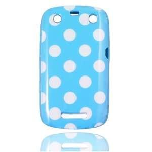 Baby Blue Polka Dot Flex Gel Case for Blackberry Curve