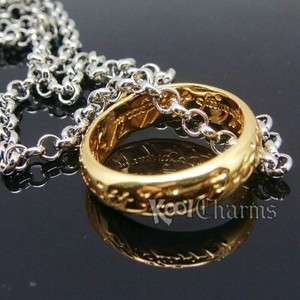 DS5 Gold Plated Lord of the Rings +Free 22 Chain LOTR Fashion New
