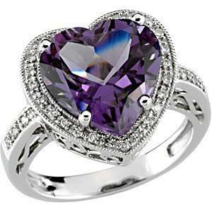 Fabulous Fine Natural Large Heart Shaped Amethyst & 32 Diamond Fashion