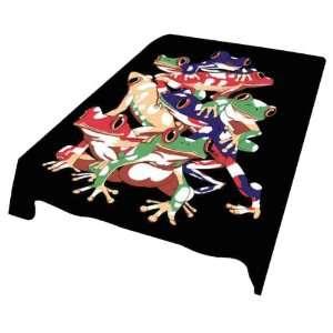 Super Soft Luxury Plush Queen Size Mink Blanket   Tree Frogs