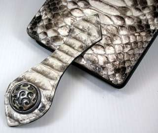 GENUINE PYTHON SNAKE SKIN LEATHER WALLET SILVER STUD