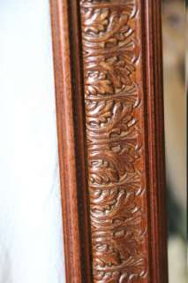 L634 LARGE 42 INCH CARVED WALNUT PULASKI DECORATOR WALL MIRROR
