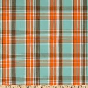 58 Wide Cotton Plaid Shirting Light Blue/Orange/Brown