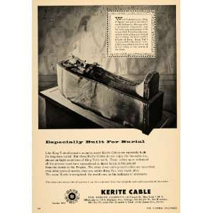 1957 Ad Kerite Cable Sarcophagus King Tut Egypt Mummy