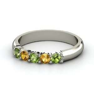 Quintessence Ring, 14K White Gold Ring with Green Tourmaline & Citrine