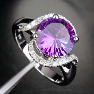 AMETHYST Pave DIAMOND Solid 14K WHITE GOLD ENGAGEMENT/Promise RING 7