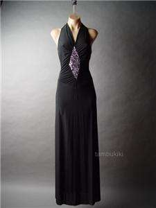JEWELED Open Back Evening Halter Long Dress Gown S/M