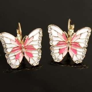 GP Pink Enamel Butterfly Swarovski Crystal earring a506