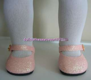 18 Inch DOLL CLOTHES Pink GLITTER Dress Mary Jane Shoes