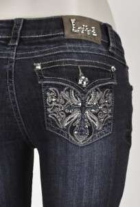 Designer Lady Miss Rhinestone Cross Boot Cut Ladies Jeans 4 Me