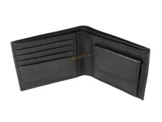 Leather Wallet 4 Credit card slots press stud coin pocket Black Brown