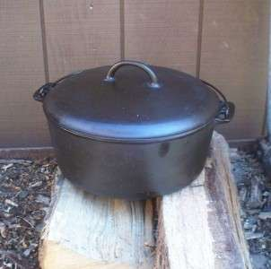 Griswold Erie #10 12 Cast Iron Dutch Oven Roaster w Cover Lid