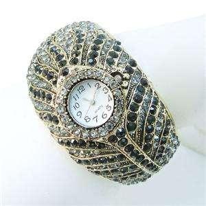 Feather Bracelet Black Swarovski Crystal Watch Bird Plume Bangle Cuff
