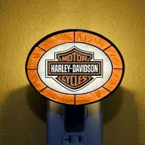 Pack of 3 Orange Harley Davidson Stained Glass Night