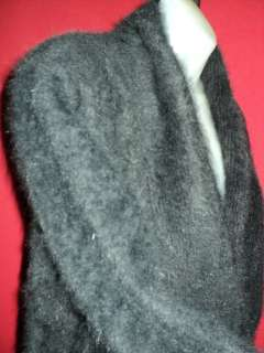 ESSENTIAL ELEMENTS Black FURRY Soft HAIRY 80% Angora Sweater Jacket