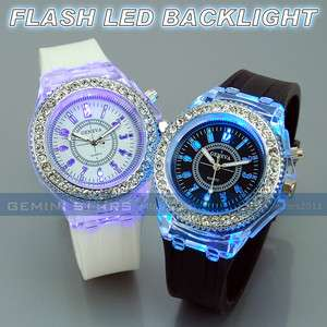Backlight Lady Girl Crystal Silicone Gel Band Watch Love Gift