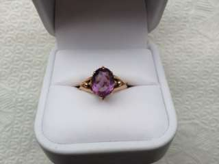 Antique Estate VICTORIAN, Edwardian 14k Yellow GOLD AMETHYST RING