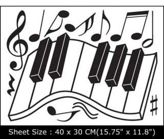 PIANO DECOR VINYL WALL MURAL ART STICKER DECALS EUN 21