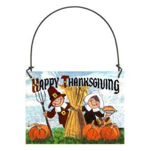 HAPPY THANKSGIVING Small Sign Hanger Pilgrims Holiday