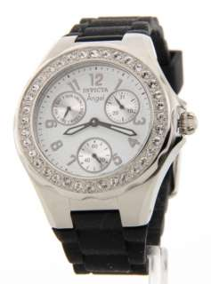 Crystal Bezel Angel Polished Steel 3 Eye Day Date Rubber Watch