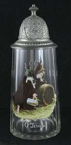 GREAT 1800s GERMAN HAND PAINTED GLASS & PEWTER TANKARD