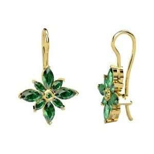 Lodestar Earrings, Round Emerald 14K Yellow Gold Earrings Jewelry