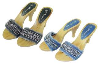 SH20 Designer Rhinestone Women Fashion Wood Stylish Heels Sandals