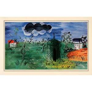 1939 Tipped In Raoul Dufy Farm Countryside Fauvism Rain