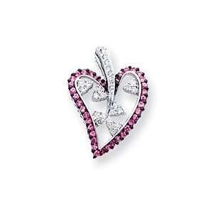 14k White Gold Pink Sapphire & Diamond Pendant Jewelry