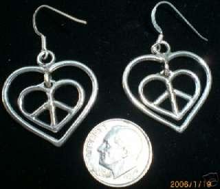 925 Silver Inner Love & Peace Sign Pendant Earrings