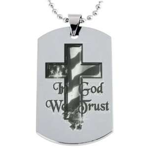 In God We Trust Engraved Dogtag Necklace w/Chain and