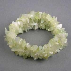 Green Jade Crystal Chip Wide Stretchy Bracelet   (BR32