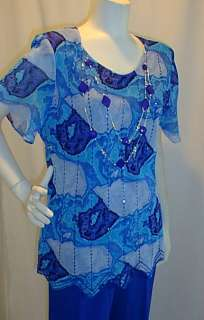 New 2pc Beaded Royal Blue Pantsuit Formal XL Necklace Holiday Party