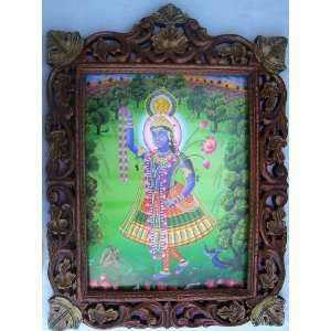 Lord Krishna with Garland in Jungle poster painting in Wood Crafts