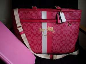 NWT COACH HERITAGE COATED PINK SIGNATURE C LG MULTI BABY DIAPER TOTE
