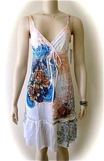 OCEAN BREEZE LOTUS FLOWER Tattoo Print Dress Small