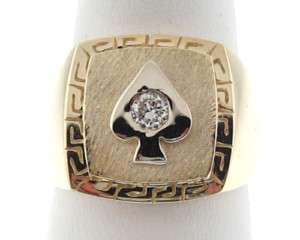 Spade Poker Genuine Diamond Solid 14k Gold Mens Ring