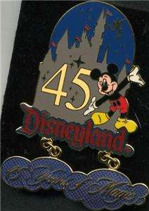 DISNEY DLR 45TH YEARS OF MAGIC MICKEY CASTLE DANGLE PIN