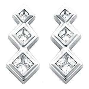 Gold Three Stone Princess Cut Diamond Earrings   1.20 Ct. Jewelry