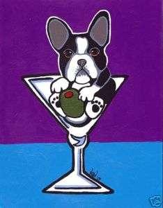 FRENCH BULLDOG Martini ORIGINAL Painting Dog Art VERN