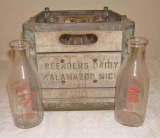 Old dairy milk bottles Chickagami qt w wooden crate NR lot