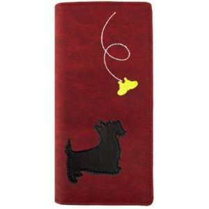 Puppy Chasing a Butterfly Embroidered Vegan Faux Leather Folded Wallet