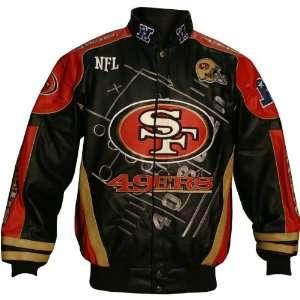 Nfl San Francisco 49Ers Leather Scoreboard Jacket Size