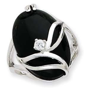Sterling Silver Onyx & CZ Ring   Size 7 West Coast