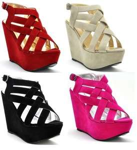 NEW PARTY WEAR WOMEN STRAPPY ANKLE WEDGE PLATFORM SHOES SIZE 3 8