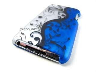 OCEAN BLUE BLK VINES HARD SHELL CASE COVER APPLE IPOD TOUCH 4 4TH GEN