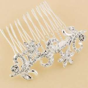 Silver Rhinestone Hair Comb Beauty